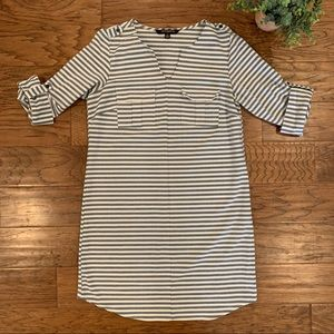 Sharagano Nordstrom Striped 3/4 Sleeve Shirt Dress